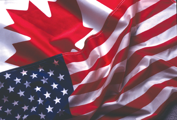 US and Canadian flag Celebrating July 1st and July 4th